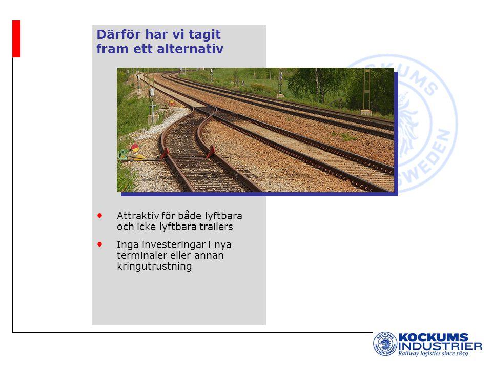 Därför har vi tagit fram ett alternativ Attraktiv för både lyftbara och icke lyftbara trailers Inga investeringar i nya terminaler eller annan kringutrustning