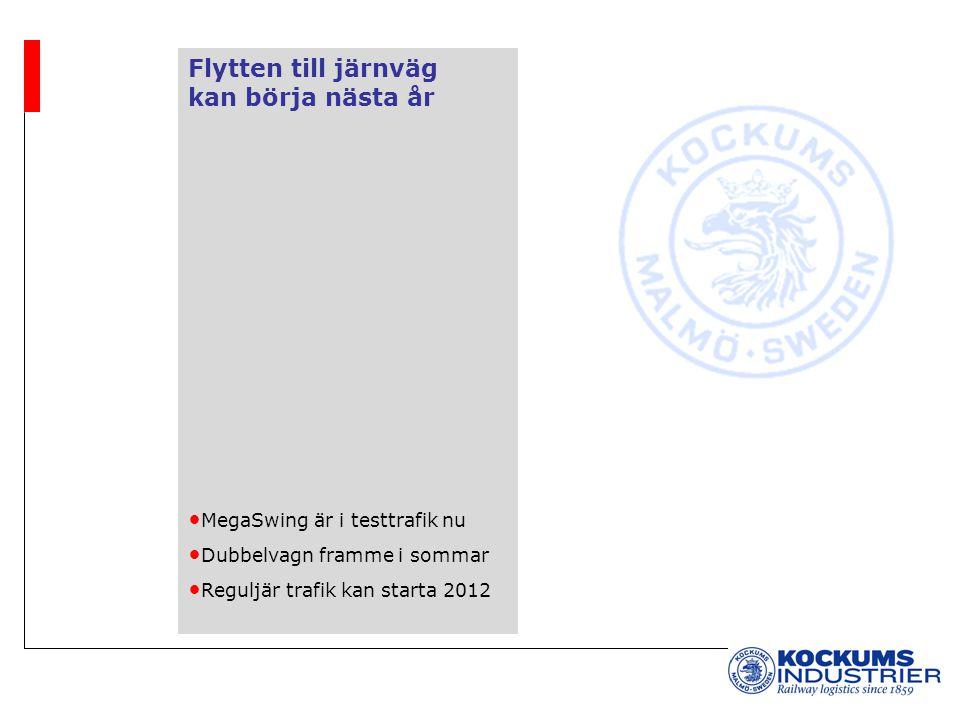 Flytten till järnväg kan börja nästa år MegaSwing är i testtrafik nu Dubbelvagn framme i sommar Reguljär trafik kan starta 2012