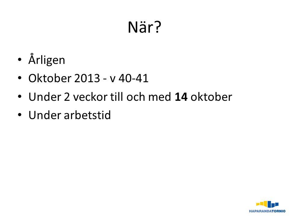När? Årligen Oktober 2013 - v 40-41 Under 2 veckor till och med 14 oktober Under arbetstid