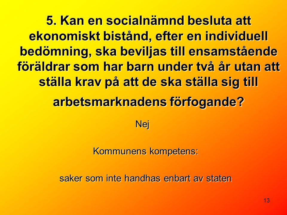 13 5. Kan en socialnämnd besluta att ekonomiskt bistånd, efter en individuell bedömning, ska beviljas till ensamstående föräldrar som har barn under t