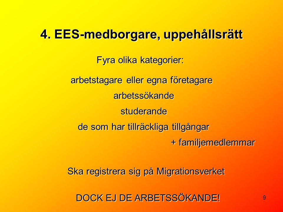 9 Fyra olika kategorier: arbetstagare eller egna företagare 4. EES-medborgare, uppehållsrätt arbetssökande studerande de som har tillräckliga tillgång