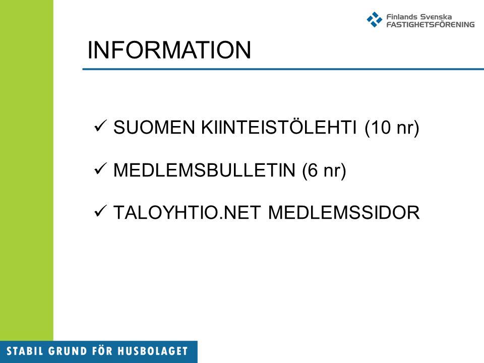 INFORMATION SUOMEN KIINTEISTÖLEHTI (10 nr) MEDLEMSBULLETIN (6 nr) TALOYHTIO.NET MEDLEMSSIDOR
