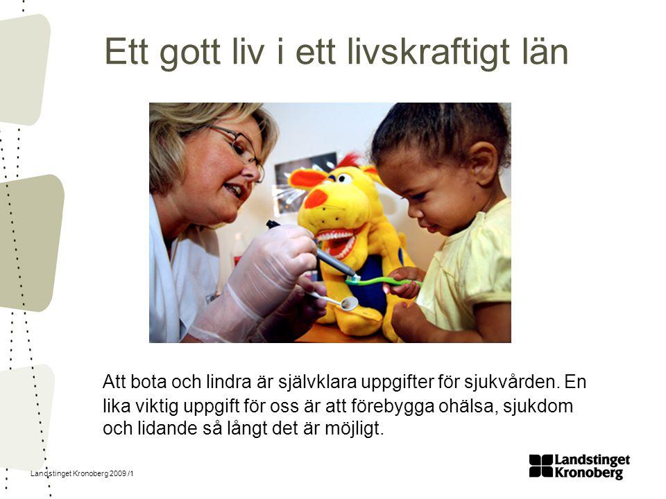 Landstinget Kronoberg 2009 /1 Att bota och lindra är självklara uppgifter för sjukvården. En lika viktig uppgift för oss är att förebygga ohälsa, sjuk