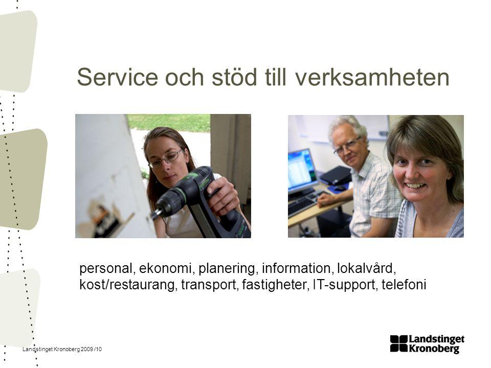 Landstinget Kronoberg 2009 /10 Service och stöd till verksamheten personal, ekonomi, planering, information, lokalvård, kost/restaurang, transport, fa