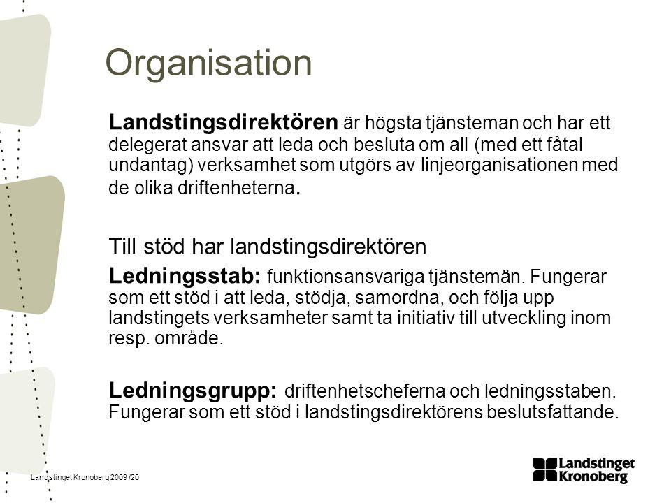 Landstinget Kronoberg 2009 /20 Organisation Landstingsdirektören är högsta tjänsteman och har ett delegerat ansvar att leda och besluta om all (med et