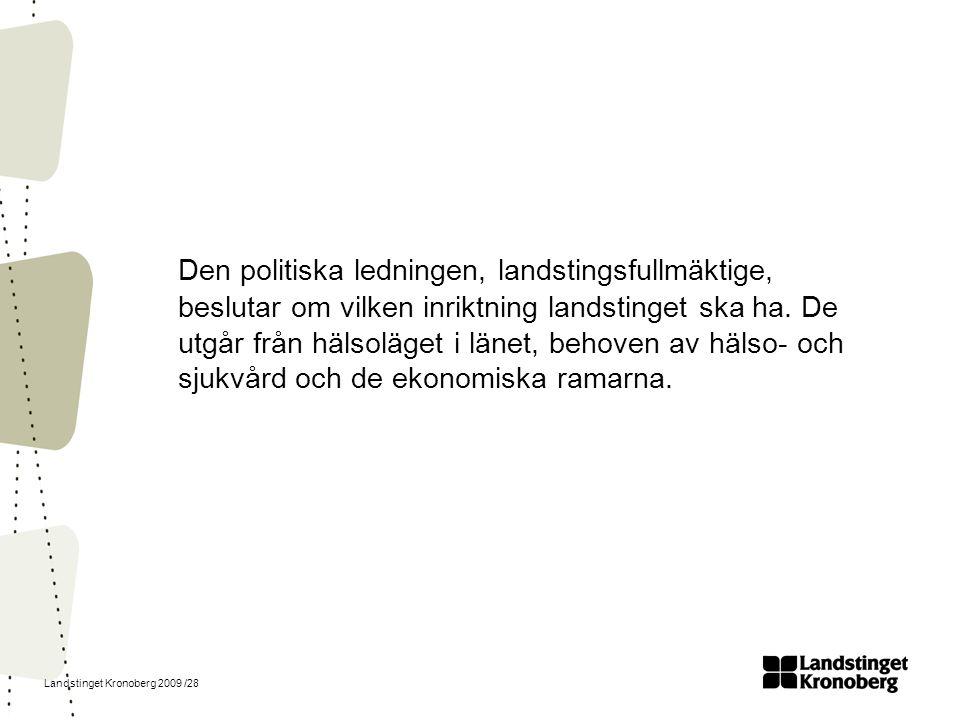 Landstinget Kronoberg 2009 /28 Den politiska ledningen, landstingsfullmäktige, beslutar om vilken inriktning landstinget ska ha. De utgår från hälsolä