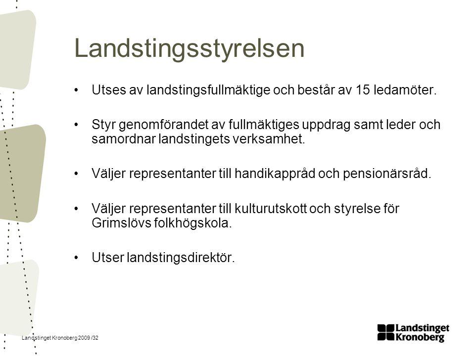 Landstinget Kronoberg 2009 /32 Landstingsstyrelsen Utses av landstingsfullmäktige och består av 15 ledamöter. Styr genomförandet av fullmäktiges uppdr