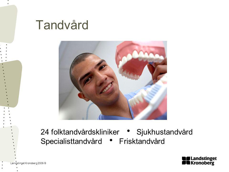 Landstinget Kronoberg 2009 /9 Tandvård 24 folktandvårdskliniker  Sjukhustandvård Specialisttandvård  Frisktandvård