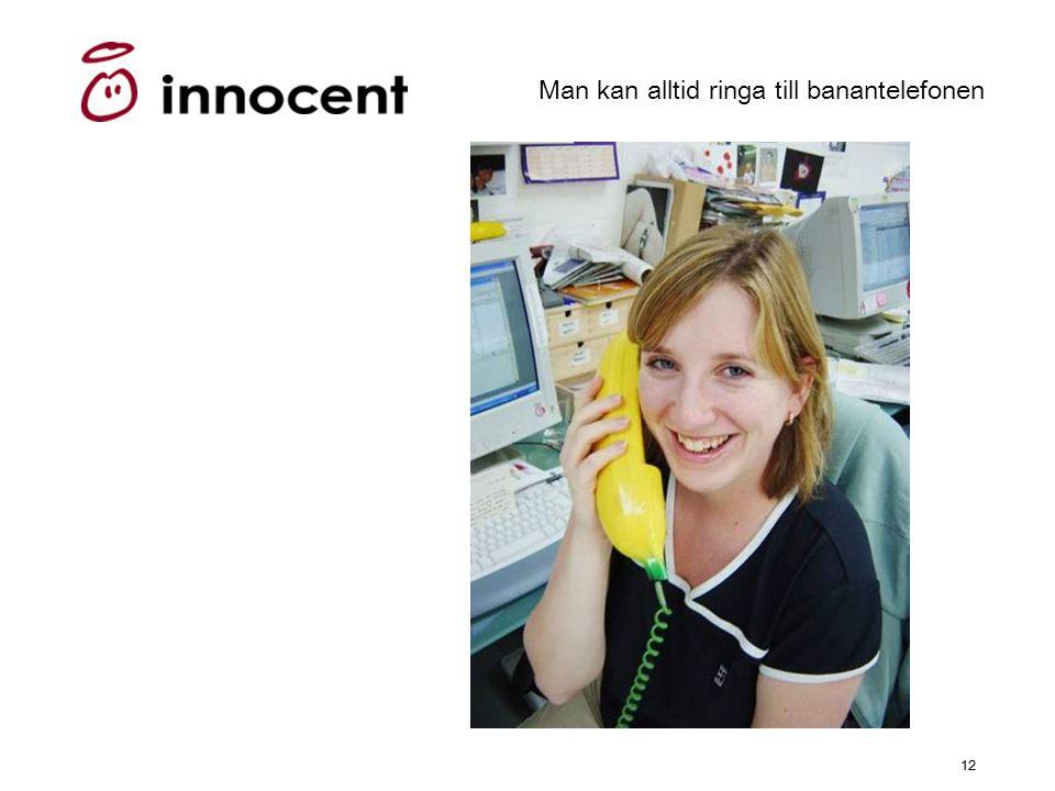 12 Man kan alltid ringa till banantelefonen