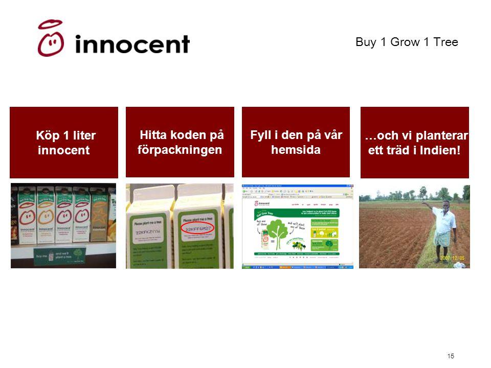15 Buy 1 Grow 1 Tree Köp 1 liter innocent Hitta koden på förpackningen Fyll i den på vår hemsida …och vi planterar ett träd i Indien!