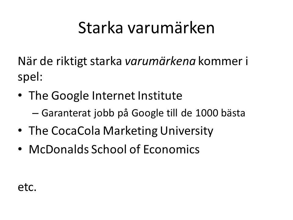 Starka varumärken När de riktigt starka varumärkena kommer i spel: The Google Internet Institute – Garanterat jobb på Google till de 1000 bästa The CocaCola Marketing University McDonalds School of Economics etc.