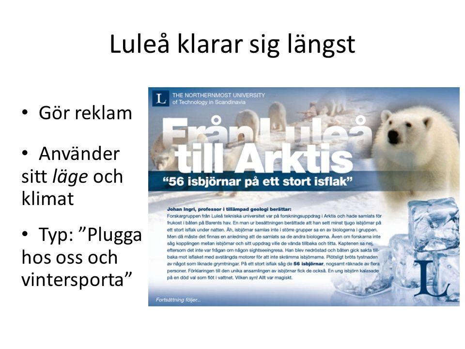 Luleå klarar sig längst Gör reklam Använder sitt läge och klimat Typ: Plugga hos oss och vintersporta