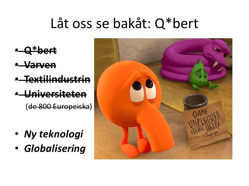 Låt oss se bakåt: Q*bert Q*bert Varven Textilindustrin Universiteten (de 800 Europeiska) Ny teknologi Globalisering