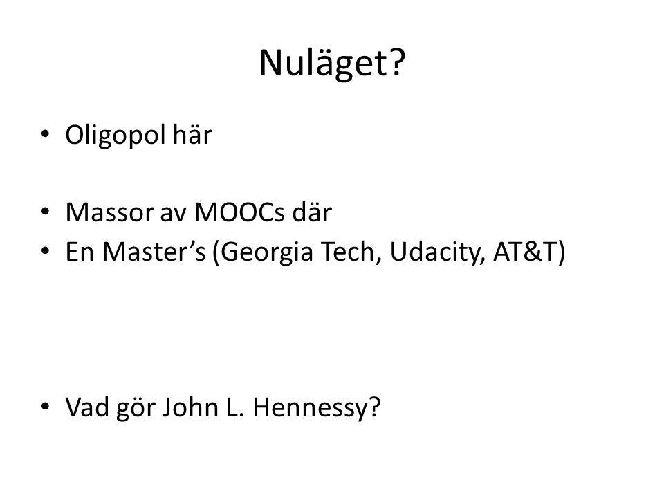 Nuläget.Oligopol här Massor av MOOCs där En Master's (Georgia Tech, Udacity, AT&T) Vad gör John L.