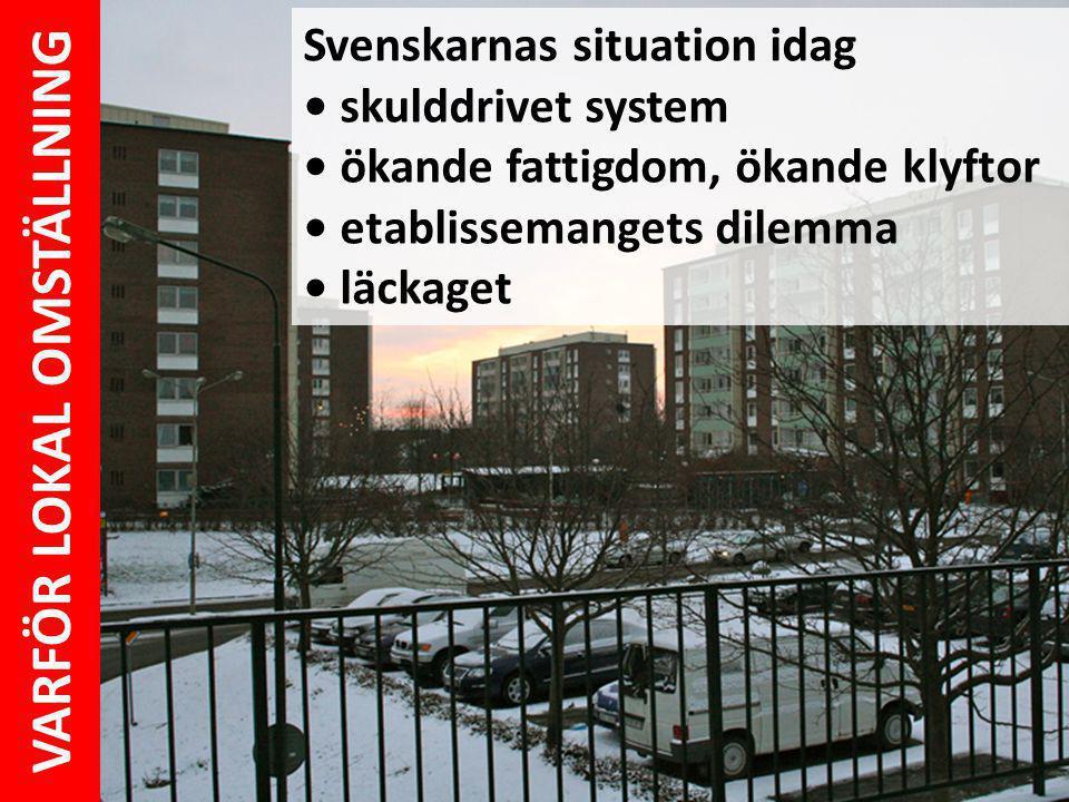 Svenskarnas situation idag skulddrivet system ökande fattigdom, ökande klyftor etablissemangets dilemma läckaget VARFÖR LOKAL OMSTÄLLNING