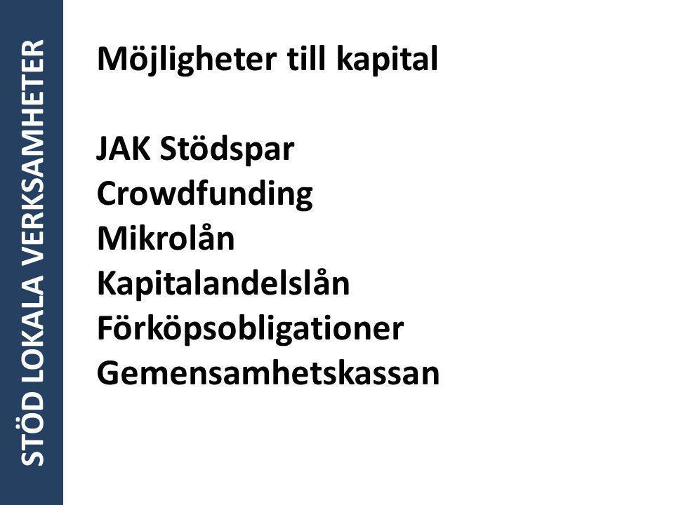 Möjligheter till kapital JAK Stödspar Crowdfunding Mikrolån Kapitalandelslån Förköpsobligationer Gemensamhetskassan