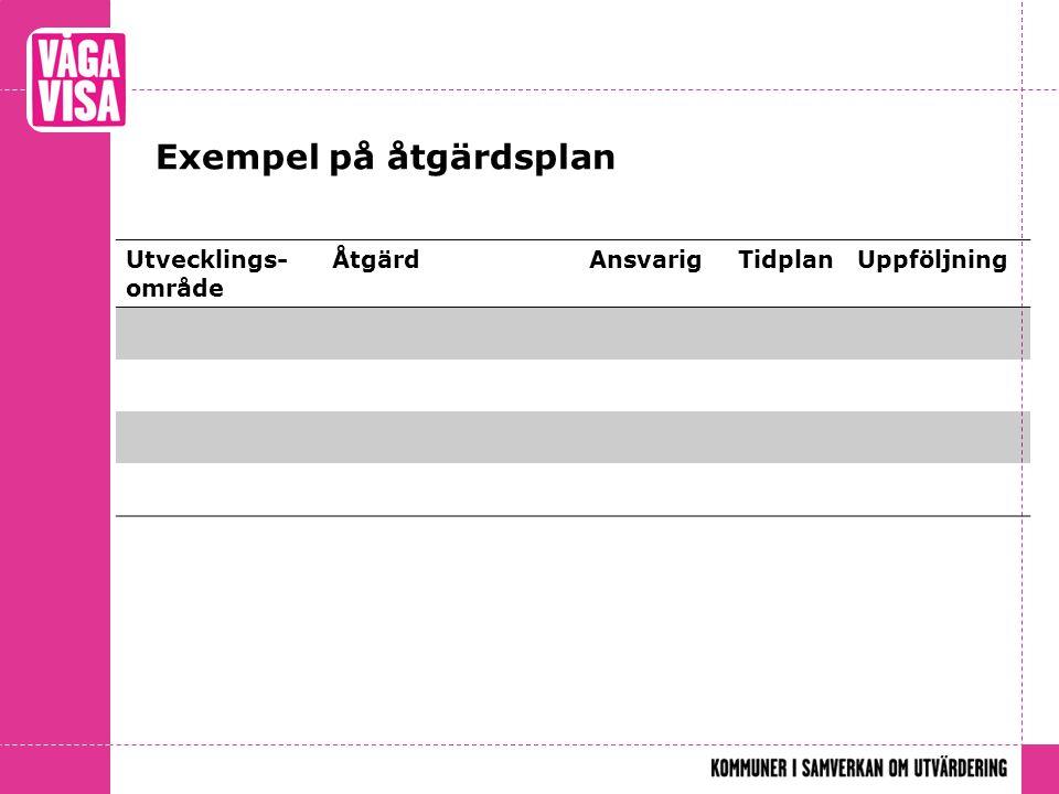 Exempel på åtgärdsplan Utvecklings- område ÅtgärdAnsvarigTidplanUppföljning