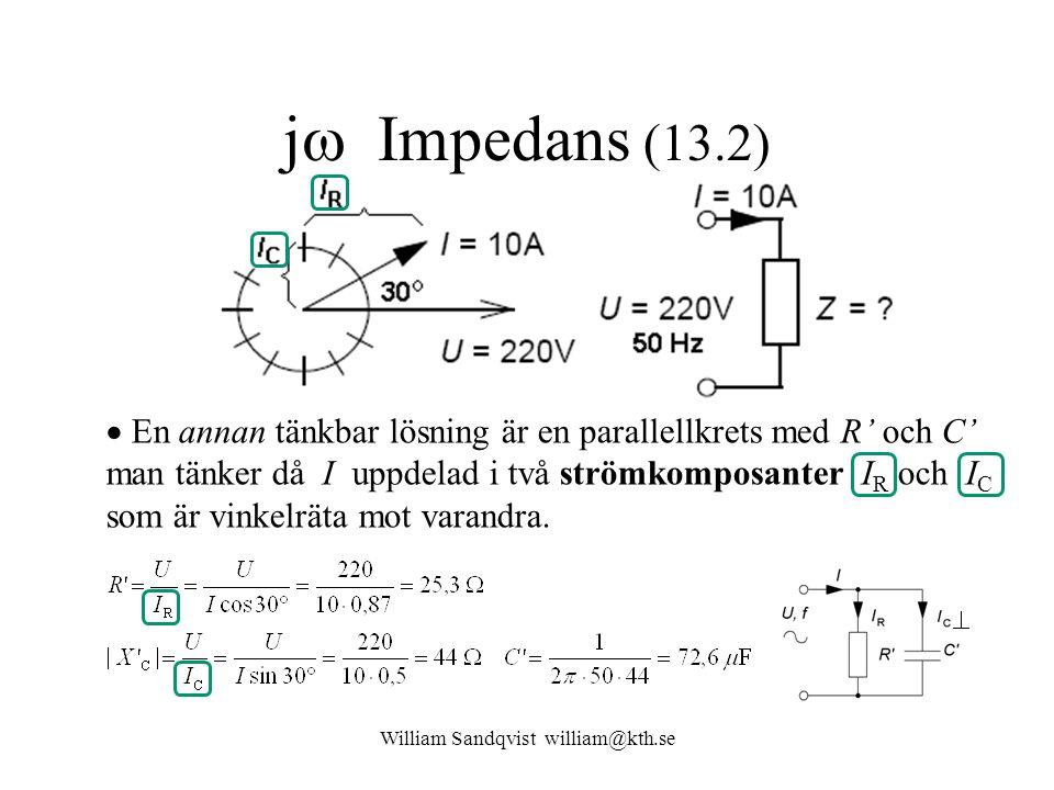 William Sandqvist william@kth.se j  Impedans (13.2)  En annan tänkbar lösning är en parallellkrets med R' och C' man tänker då I uppdelad i två strömkomposanter I R och I C som är vinkelräta mot varandra.