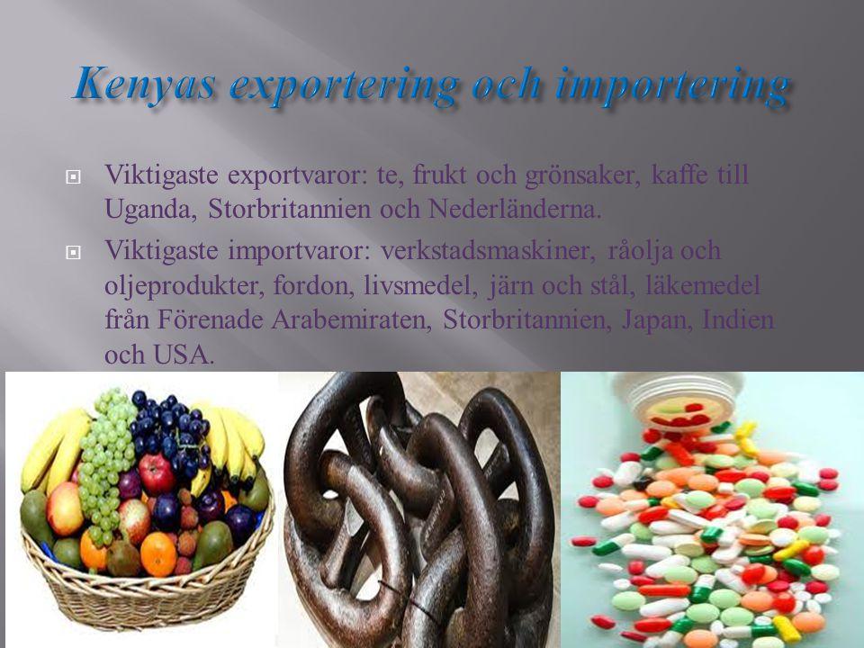  Viktigaste exportvaror: te, frukt och grönsaker, kaffe till Uganda, Storbritannien och Nederländerna.  Viktigaste importvaror: verkstadsmaskiner, r