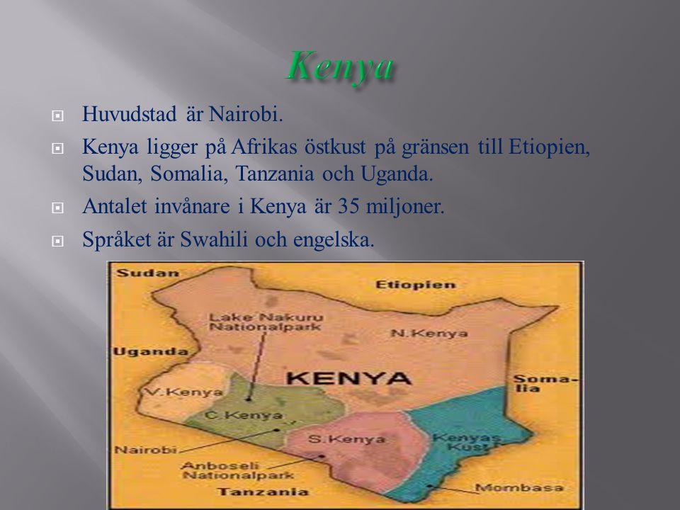  Huvudstad är Nairobi.  Kenya ligger på Afrikas östkust på gränsen till Etiopien, Sudan, Somalia, Tanzania och Uganda.  Antalet invånare i Kenya är