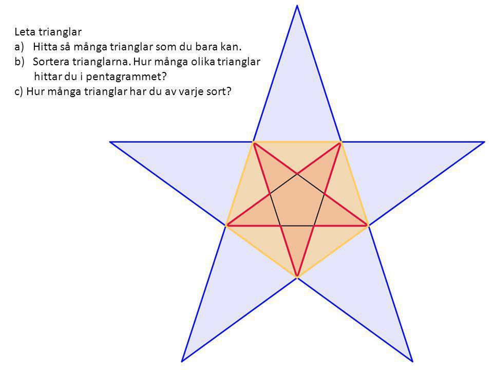 Leta trianglar a)Hitta så många trianglar som du bara kan. b)Sortera trianglarna. Hur många olika trianglar hittar du i pentagrammet? c) Hur många tri