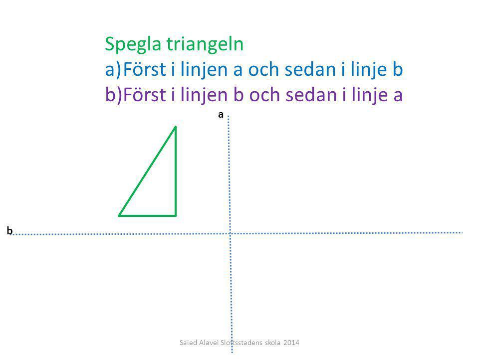 Spegla triangeln a)Först i linjen a och sedan i linje b b)Först i linjen b och sedan i linje a a b Saied Alavei Slottsstadens skola 2014