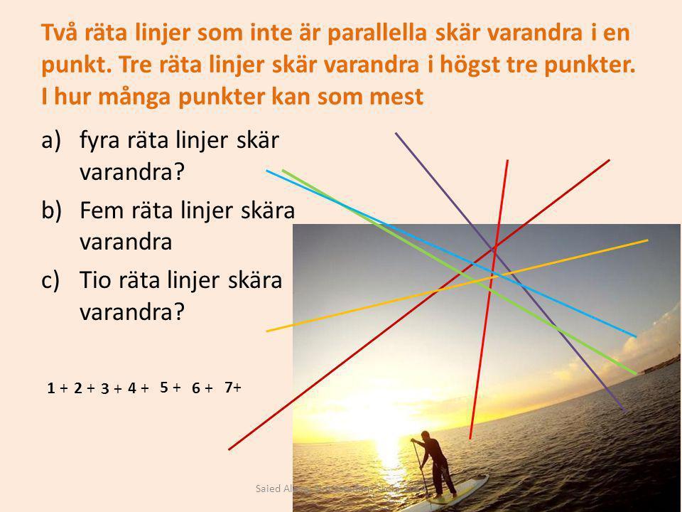 Två räta linjer som inte är parallella skär varandra i en punkt. Tre räta linjer skär varandra i högst tre punkter. I hur många punkter kan som mest a