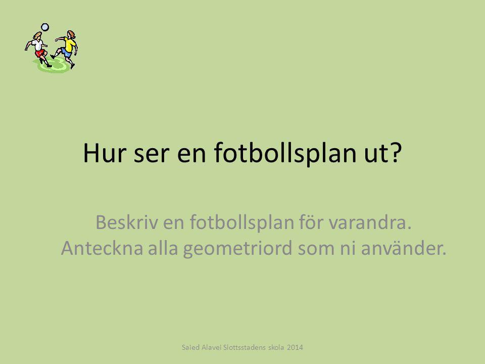 Hur ser en fotbollsplan ut? Beskriv en fotbollsplan för varandra. Anteckna alla geometriord som ni använder. Saied Alavei Slottsstadens skola 2014