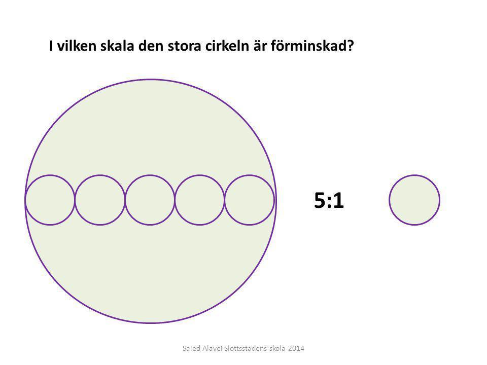 I vilken skala den stora cirkeln är förminskad? 5:1 Saied Alavei Slottsstadens skola 2014
