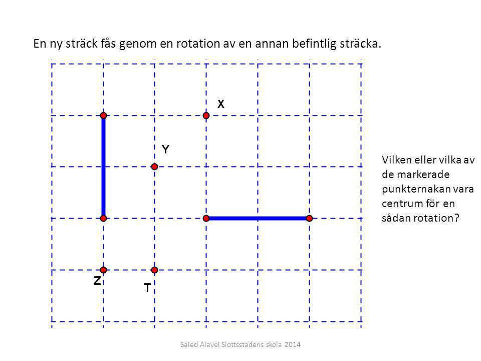 En ny sträck fås genom en rotation av en annan befintlig sträcka. Vilken eller vilka av de markerade punkternakan vara centrum för en sådan rotation?