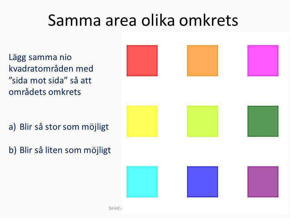 """Samma area olika omkrets Saied Alavei Slottsstadens skola 2014 Lägg samma nio kvadratområden med """"sida mot sida"""" så att områdets omkrets a)Blir så sto"""