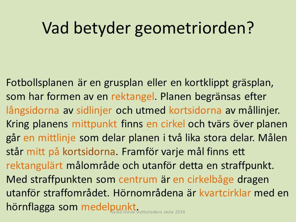 Vad betyder geometriorden? Saied Alavei Slottsstadens skola 2014 Fotbollsplanen är en grusplan eller en kortklippt gräsplan, som har formen av en rekt