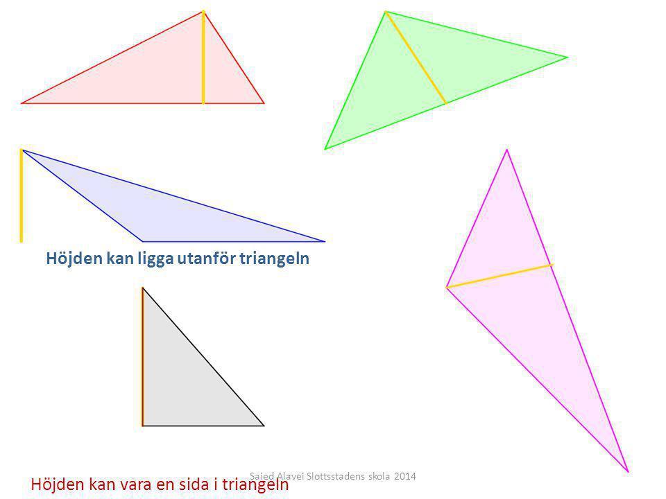 Höjden kan vara en sida i triangeln Höjden kan ligga utanför triangeln Saied Alavei Slottsstadens skola 2014