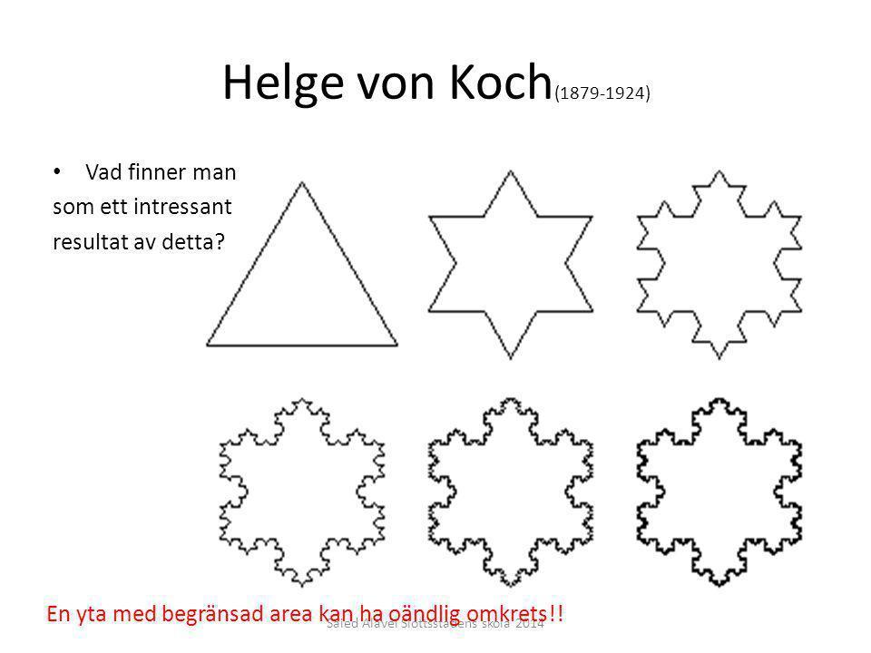 Helge von Koch (1879-1924) Vad finner man som ett intressant resultat av detta? Saied Alavei Slottsstadens skola 2014 En yta med begränsad area kan ha