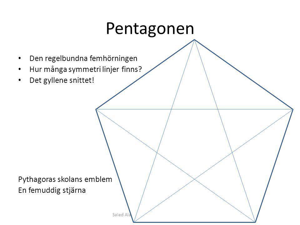 Pentagonen Den regelbundna femhörningen Hur många symmetri linjer finns? Det gyllene snittet! Pythagoras skolans emblem En femuddig stjärna Saied Alav