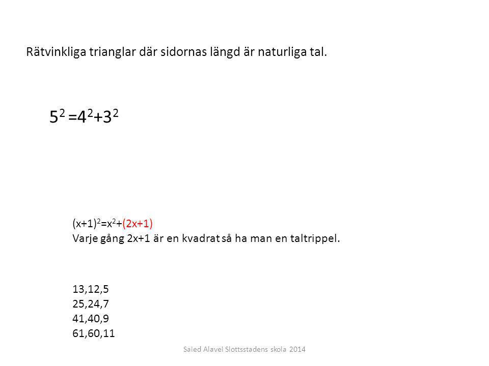 Rätvinkliga trianglar där sidornas längd är naturliga tal. 5 2 =4 2 +3 2 (x+1) 2 =x 2 +(2x+1) Varje gång 2x+1 är en kvadrat så ha man en taltrippel. 1