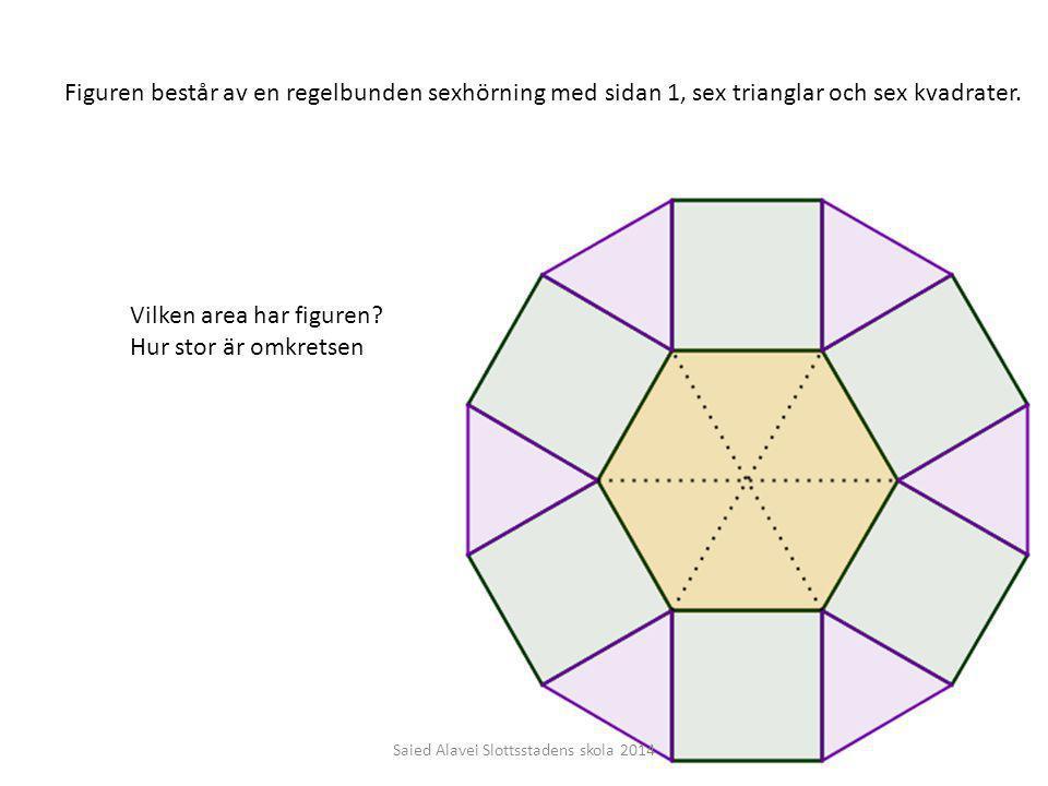 Figuren består av en regelbunden sexhörning med sidan 1, sex trianglar och sex kvadrater. Vilken area har figuren? Hur stor är omkretsen Saied Alavei