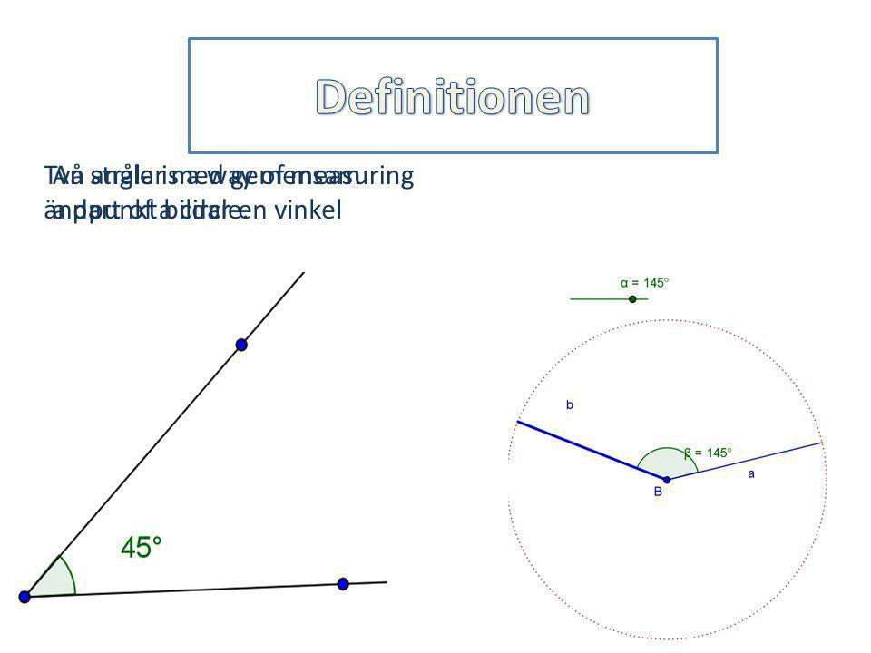 An angle is a way of measuring a part of a circle. Två strålar med gemensam ändpunkt bildar en vinkel