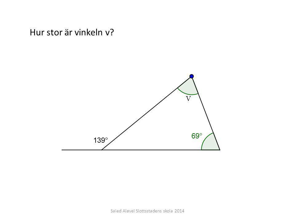 Saied Alavei Slottsstadens skola 2014 Hur stor är vinkeln v?