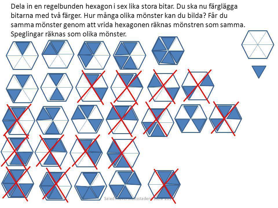 Saied Alavei Slottsstadens skola 2014 Dela in en regelbunden hexagon i sex lika stora bitar. Du ska nu färglägga bitarna med två färger. Hur många oli