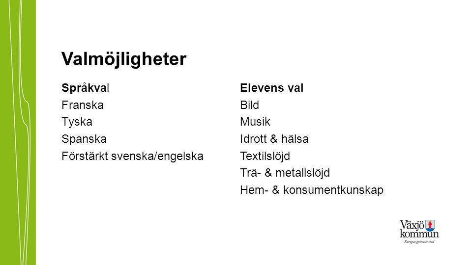 Valmöjligheter Språkval Franska Tyska Spanska Förstärkt svenska/engelska Elevens val Bild Musik Idrott & hälsa Textilslöjd Trä- & metallslöjd Hem- & konsumentkunskap