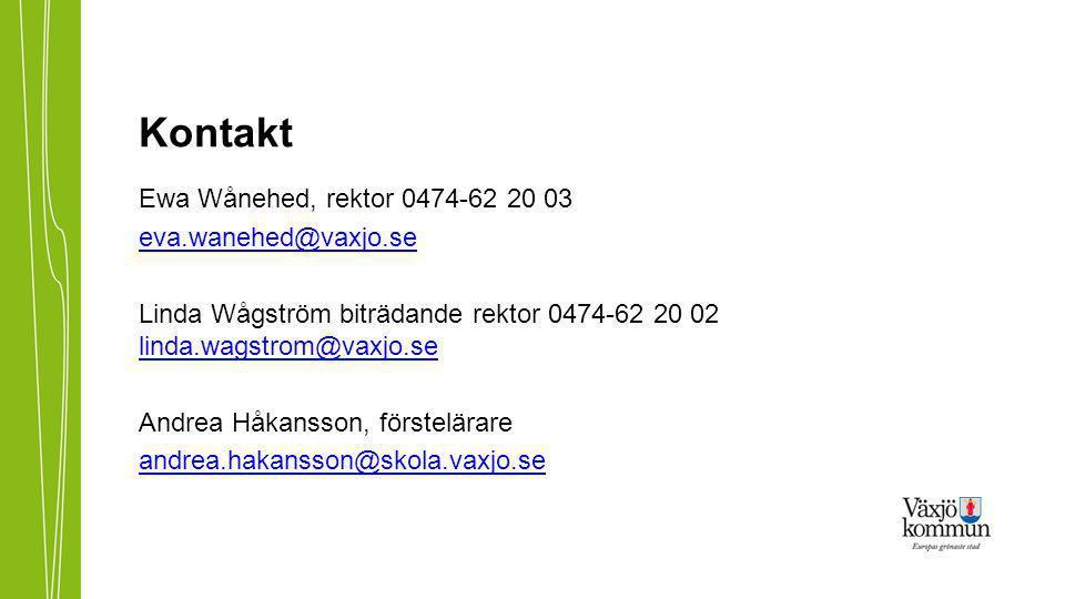 Kontakt Ewa Wånehed, rektor 0474-62 20 03 eva.wanehed@vaxjo.se Linda Wågström biträdande rektor 0474-62 20 02 linda.wagstrom@vaxjo.se linda.wagstrom@vaxjo.se Andrea Håkansson, förstelärare andrea.hakansson@skola.vaxjo.se