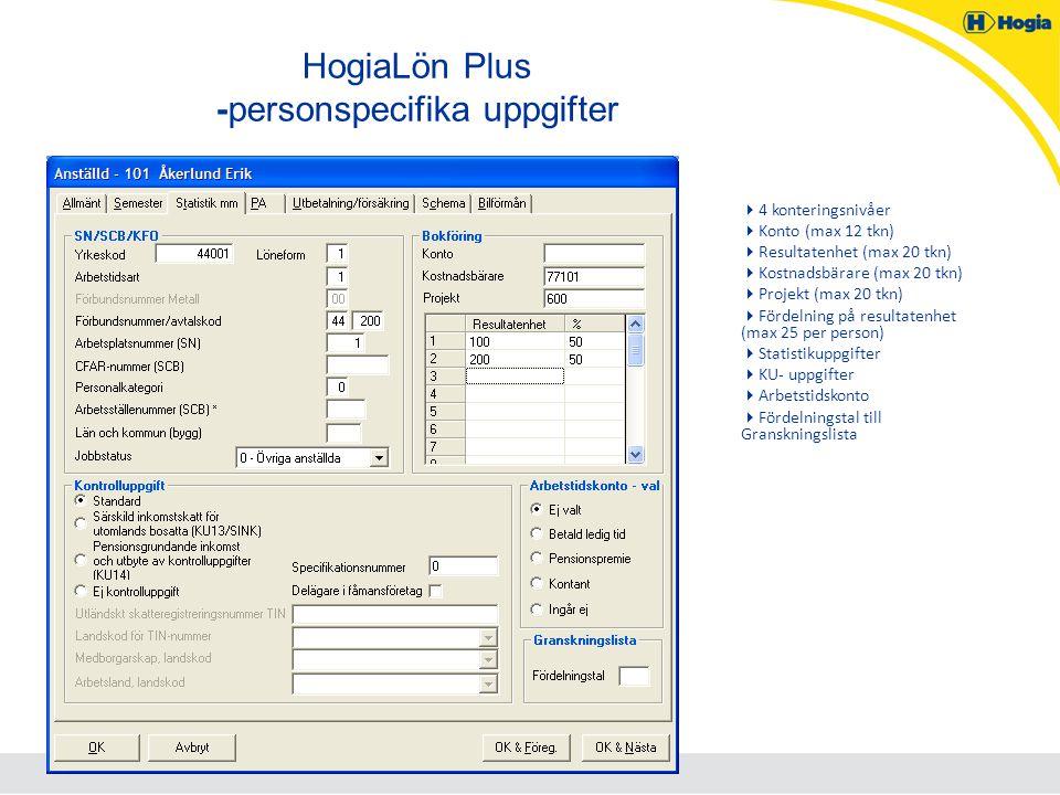 HogiaLön Plus -personspecifika uppgifter  4 konteringsnivåer  Konto (max 12 tkn)  Resultatenhet (max 20 tkn)  Kostnadsbärare (max 20 tkn)  Projek