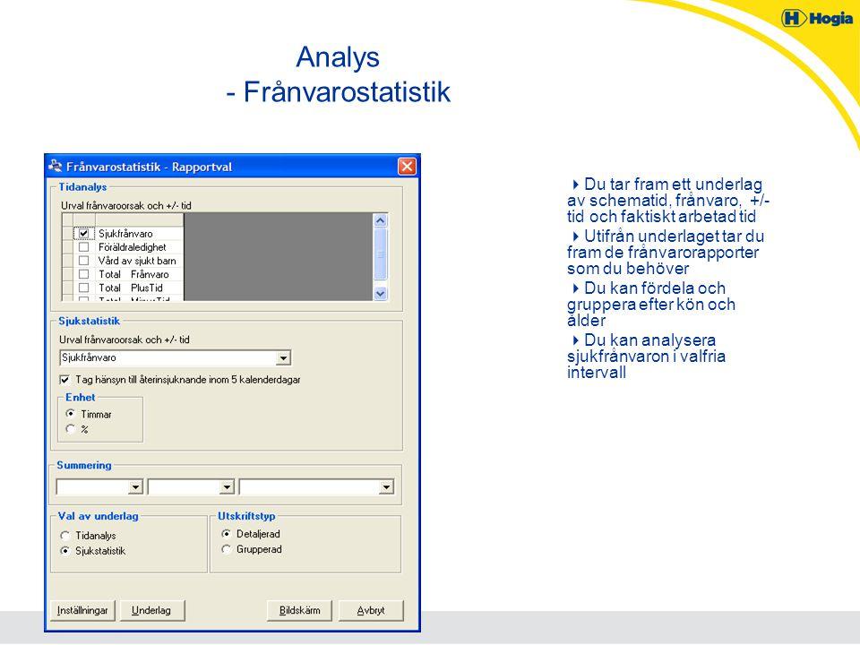 Analys - Frånvarostatistik  Du tar fram ett underlag av schematid, frånvaro, +/- tid och faktiskt arbetad tid  Utifrån underlaget tar du fram de frå