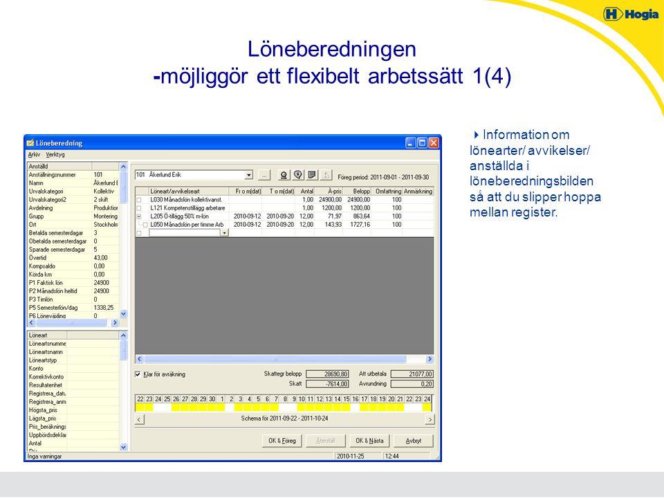 Löneberedningen -möjliggör ett flexibelt arbetssätt 1(4)  Information om lönearter/ avvikelser/ anställda i löneberedningsbilden så att du slipper ho