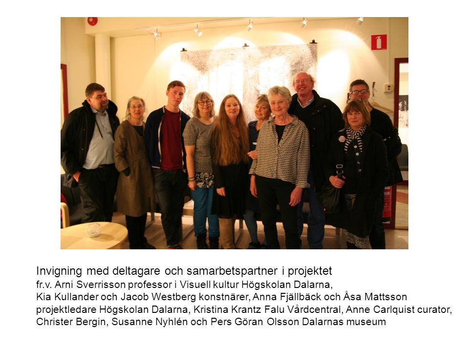 Invigning med deltagare och samarbetspartner i projektet fr.v. Arni Sverrisson professor i Visuell kultur Högskolan Dalarna, Kia Kullander och Jacob W