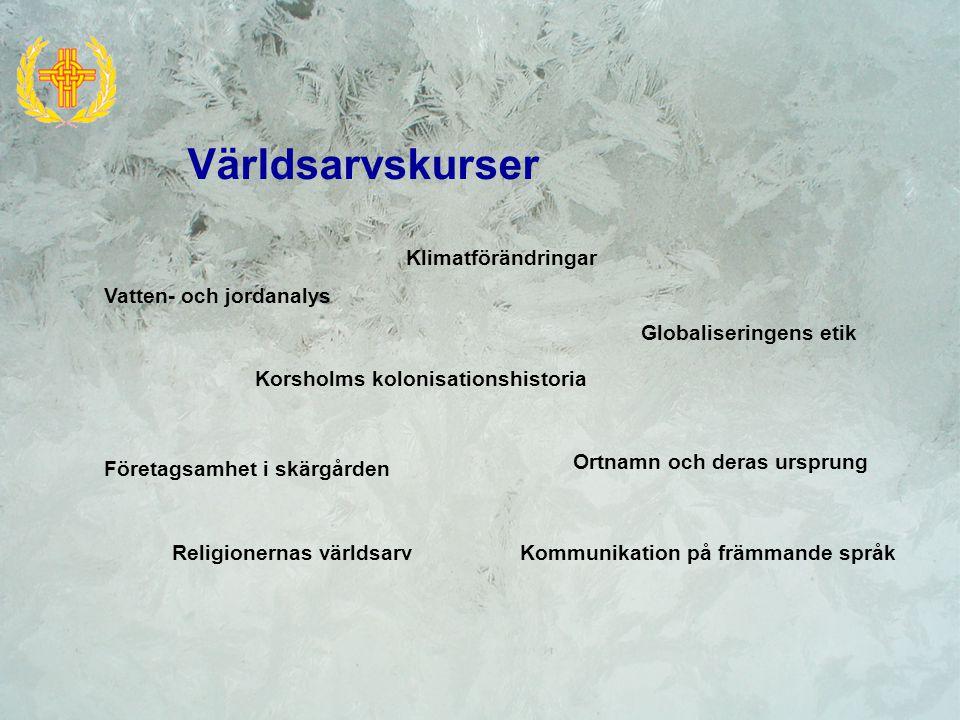 Världsarvskurser Korsholms kolonisationshistoria Klimatförändringar Företagsamhet i skärgården Globaliseringens etik Ortnamn och deras ursprung Religionernas världsarvKommunikation på främmande språk Vatten- och jordanalys
