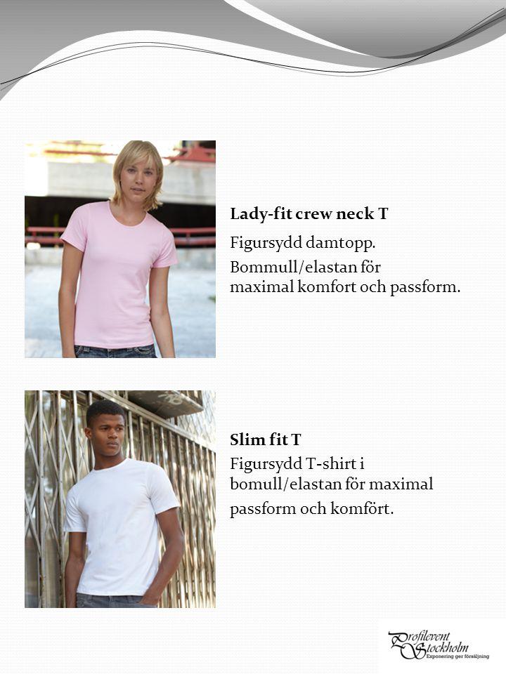 Lady-fit crew neck T Figursydd damtopp. Bommull/elastan för maximal komfort och passform.