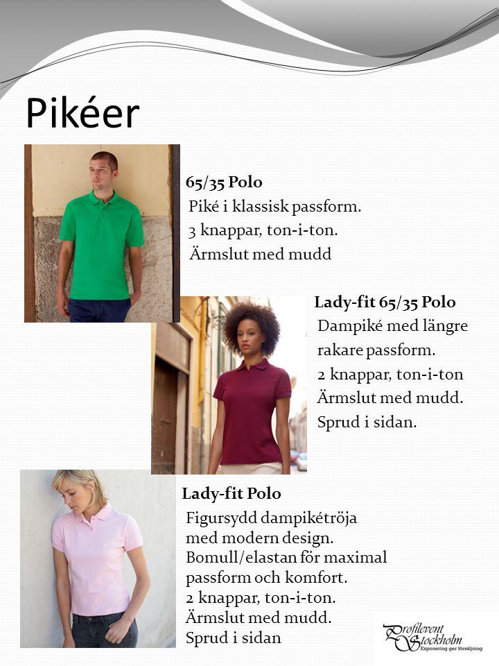 Pikéer 65/35 Polo Piké i klassisk passform. 3 knappar, ton-i-ton.