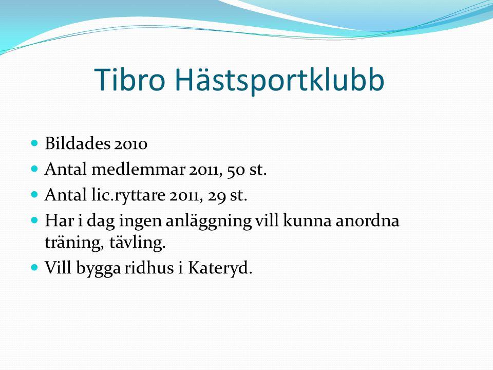 Tibro Hästsportklubb Bildades 2010 Antal medlemmar 2011, 50 st.